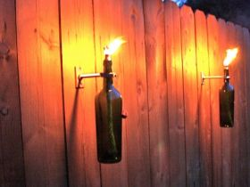 DIY Recycled Wine Bottle Tiki Torches
